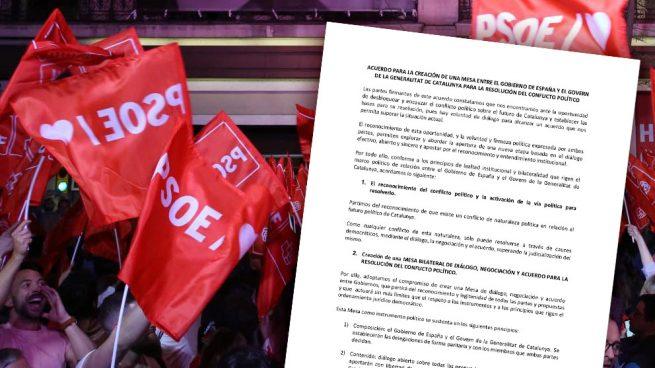 Éste es el documento del acuerdo del PSOE con ERC