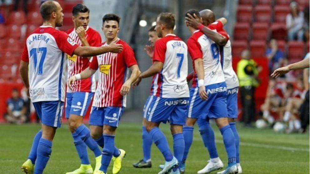 Los jugadores del Sporting durante un partido esta temporada. (Europa Press)