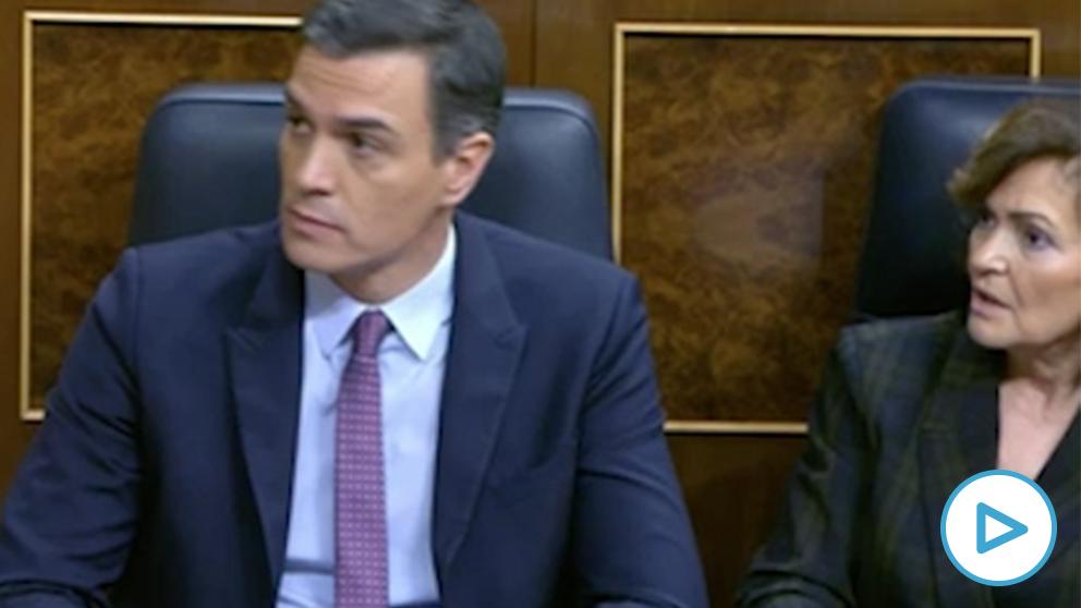 Sánchez y Calvo se dirigen con gestos a la presidenta del Congreso