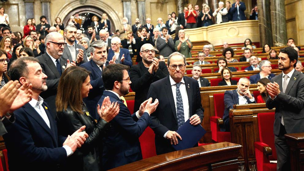 El presidente de la Generalitat, Quim Torra, en el Parlament. Foto: EFE