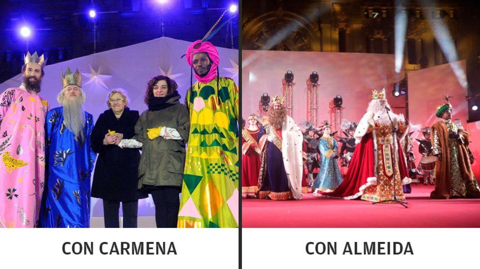 Los Reyes Magos de 2016 con Carmena, y los de este año con Almeida.