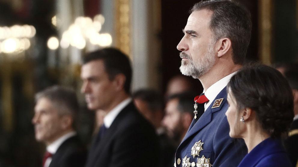 Los Reyes y Pedrdo Sánchez en la Pascua Militar. Foto: EFE