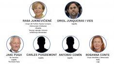 Oriol Junqueras, Toni Comín y Carles Puigdemont tal y como aparecen en la web del Parlamento Europeo.