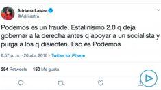 Mensaje publicado por Adriana Lastra en twitter el 26 de abril de 2016.