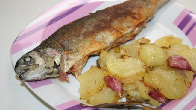 receta de trucha rellena con jamon y queso al horno