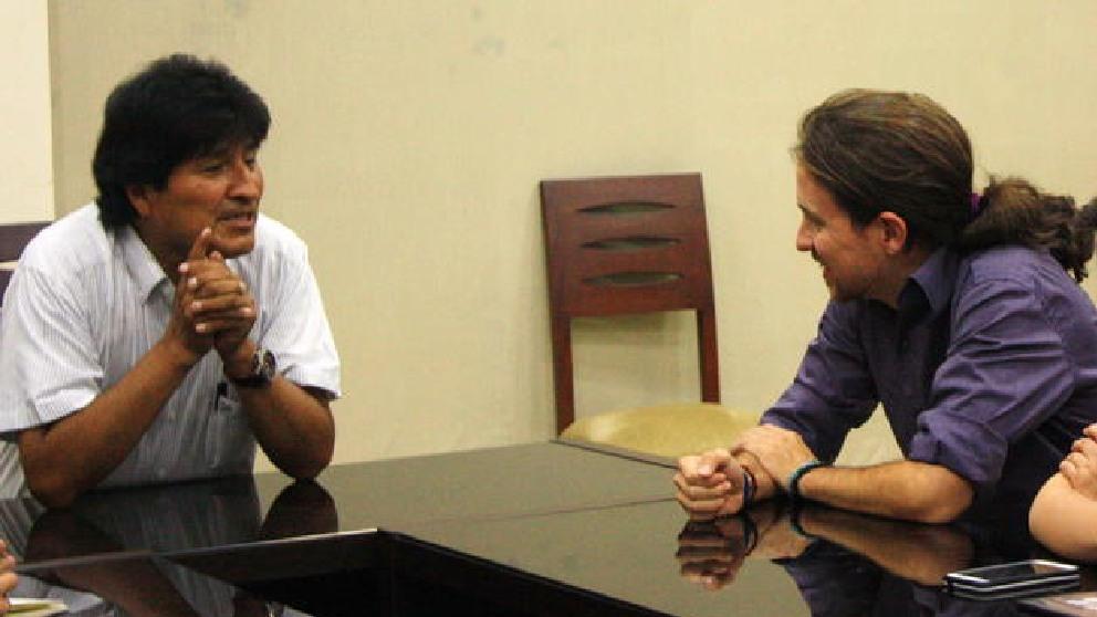 Evo Morales junto a Pablo Iglesias. (Foto: EFE)