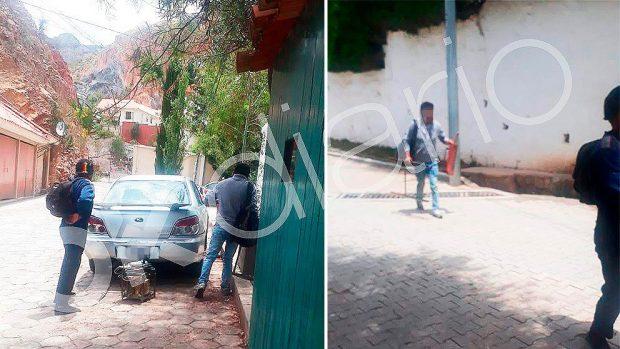 Los trabajadores de la construcción accediendo a la residencia de la Embajada de México con herramientas de excavación.