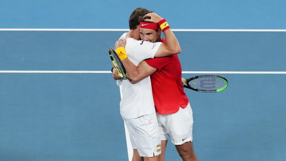 Nadal y Carreño celebran la victoria. (Getty)