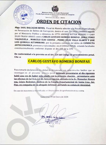 La Fiscalía boliviana cita a Carlos Romero.