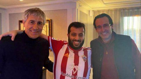 Quique Setién, Turki Al-Sheikh y Unai Emery. (@Turki_alalshikh)