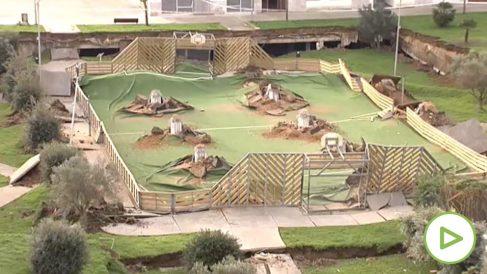 Se hunde un parque infantil sobre un parking subterráno en Santander