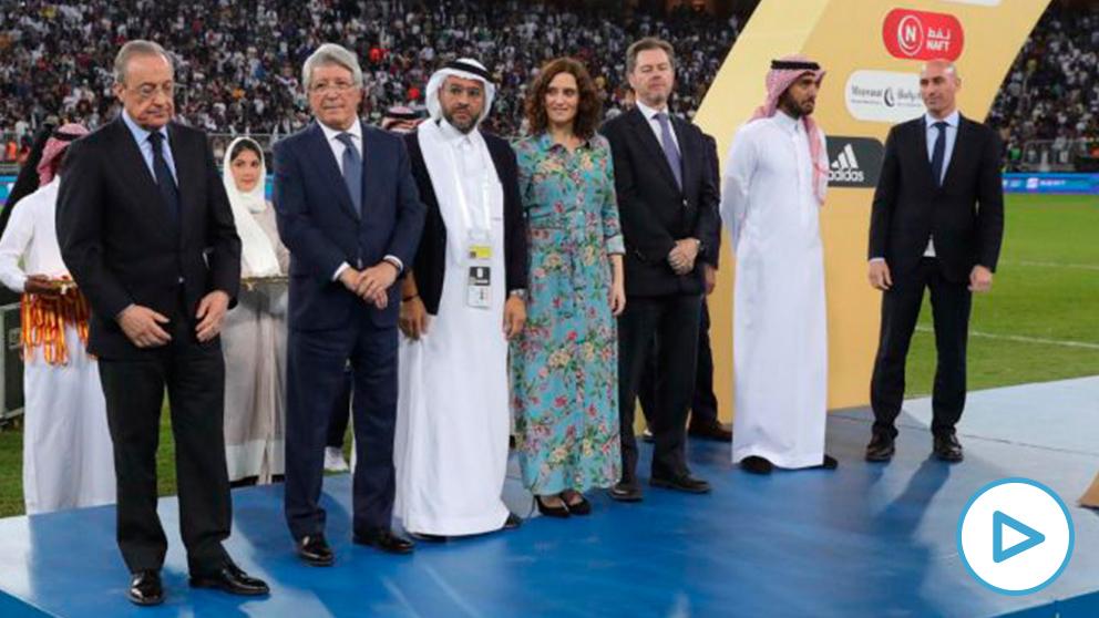 La presidenta madrileña Isabel Díaz Ayuso, este domingo en la final de Supercopa en Arabia Saudí.
