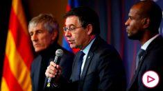 Bartomeu, respondiendo a los medios durante la presentación de Setién (EFE).