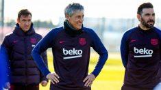 Quique Setién, en su primer entrenamiento con el Barcelona. (FCBarcelona)