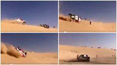El espectacular accidente de Alonso en el Dakar.