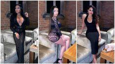 Tres de las modelos invitadas a la fiesta posan en el hotel de lujo. (Instagram)