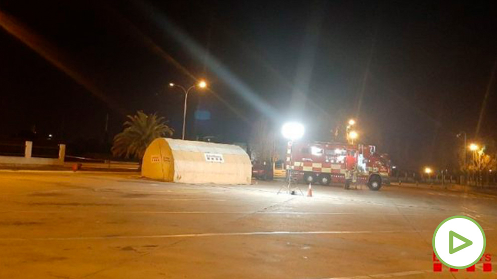 Centro de Mando en el incendio en La Canonja (Tarragona)