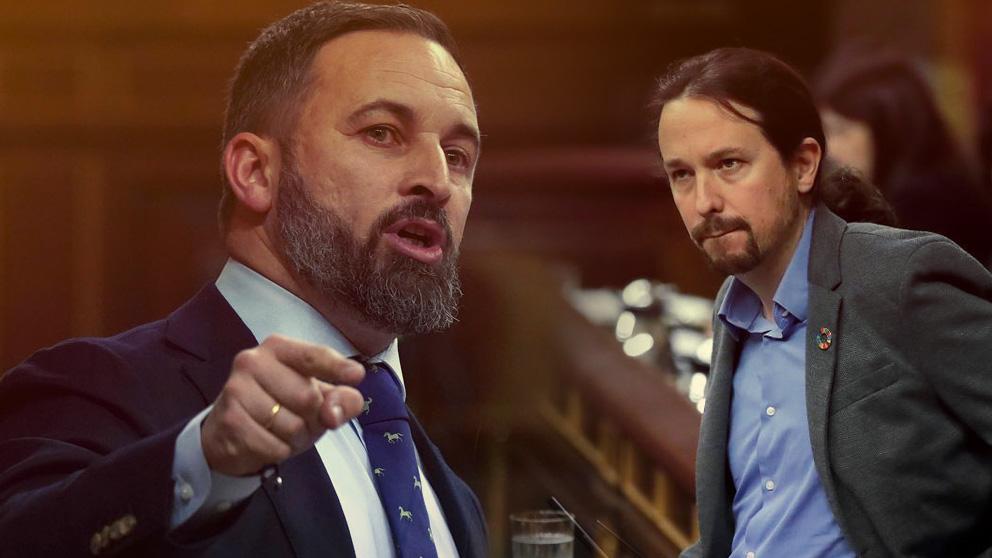Santiago Abascal (Vox) y Pablo Iglesias (Podemos).