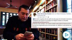 El fundador de Neurona Consulting, César Hernández Paredes, y su mensaje en Facebook.