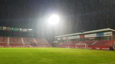 El estadio de Anduva afectado por el temporal Gloria. (@RealZaragoza)
