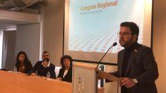 Intervención de Pere Aragonès en el congreso de la federación de ERC en Girona. Foto: EFE