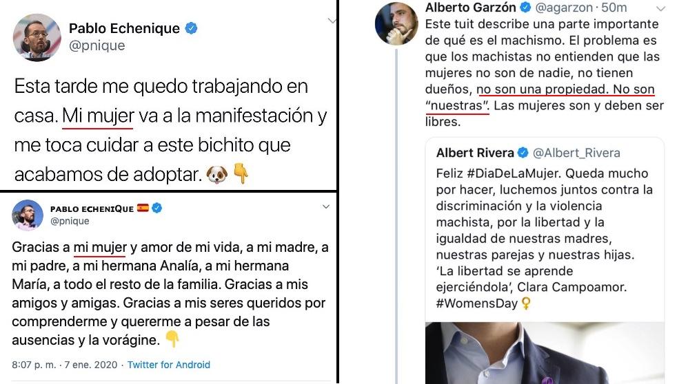 Tuits de Pablo Echenique y Albarto Garzón.