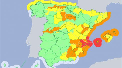 Mapa meteorológico del territorio español este domingo 19 de enero. (AEMET)