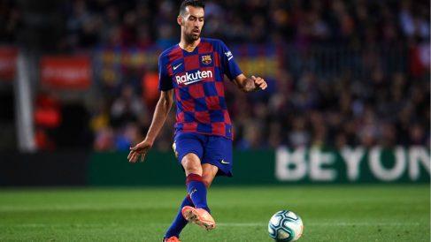 Sergio Busquets durante un partido con el Barcelona. (Getty)