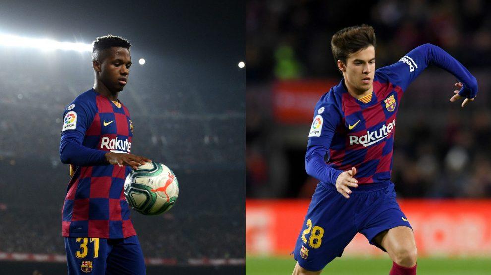 Riqui Puig y Ansu Fati fueron la cara y la cruz del debut de Setién con el Barça (Getty).