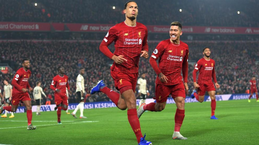 Van Dijk celebra su gol en el Liverpool – Manchester United. (Getty)