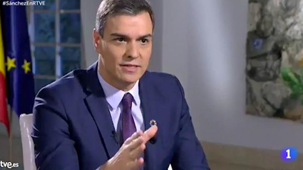 Pedro Sánchez durante la entrevista en RTVE.