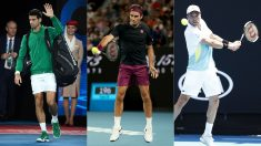 Novak Djokovic, Roger Federer y Roberto Bautista. (Getty)