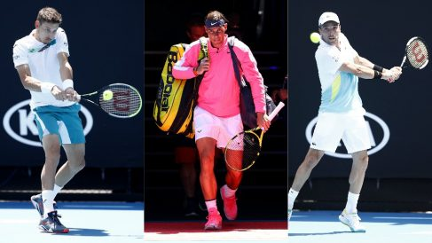 Pablo Carreño, Rafael Nadal y Roberto Bautista. (Getty)