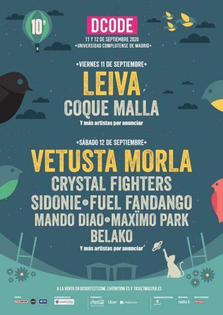 Primer avance del cartel de DCODE 2020, que celebrará su 10º aniversario con dos conciertos íntegros de Leiva y Vetusta Morla.