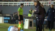 Setién, durante el Ibiza – Barcelona. (AFP)