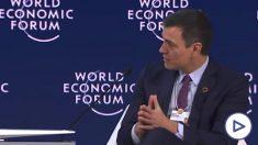 Pedro Sánchez durante su intervención en el plenario de Davos