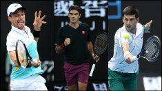 Roberto Bautista, Roger Federer y Novak Djokovic. (Getty)