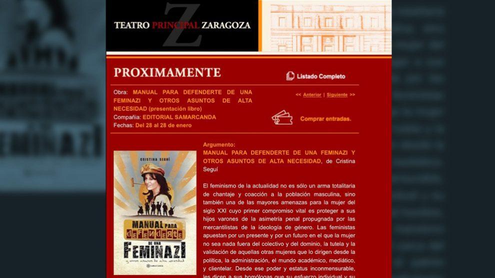 Pantallazo de la web del Teatro Principal de Zaragoza anunciando la presentación del libro de Cristina Seguí.