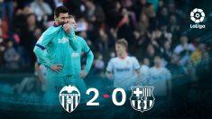Leo Messi, desolado en Mestalla.