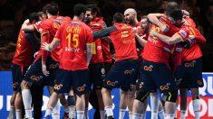 Los Hispanos celebran su pase a la final del Europeo 2020. (AFP)