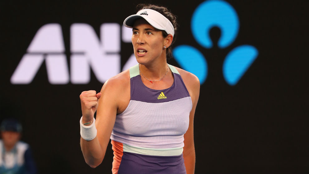 Garbiñe Muguruza celebra su victoria ante Svitolina en el Open de Australia. (Getty)