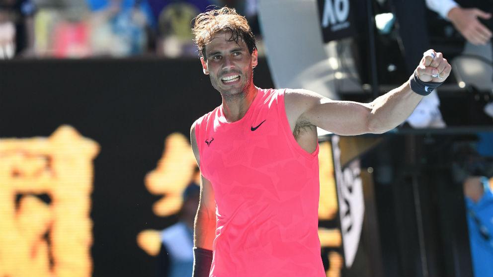 Rafa Nadal celebra su victoria ante Carreño. (Getty)