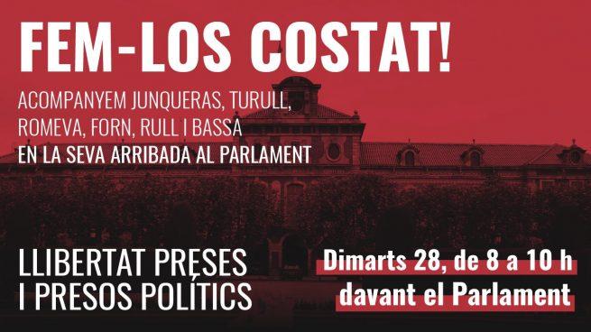 Convocan una manifestación frente al Parlament el día que los golpistas vuelven con permiso de Torra