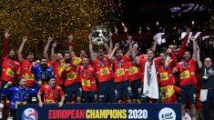 Los Hispanos celebran el Europeo 2020. (AFP)