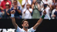 Djokovic celebra una victoria en el Open de Australia. (Getty)