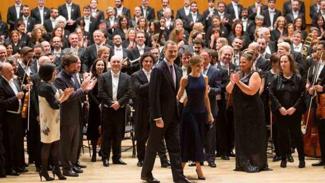 Los Reyes, Felipe VI y Letizia, en una de las actuaciones del Coro de la Fundación Princesa de Asturias.