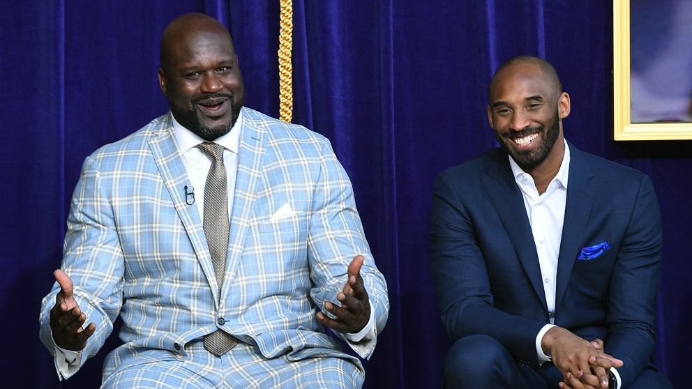 Shaq y Kobe, en un evento. (Getty)