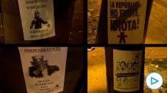 Pegatinas contra los golpistas en el Parlament. Imágenes: Edu Moreno