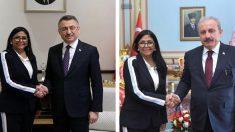 Delcy Rodríguez en sus dos 'fotos turcas'.