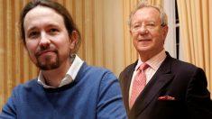 El vicepresidente del Gobierno, Pablo Iglesias, y el ex embajador de España en Venezuela Raúl Morodo.